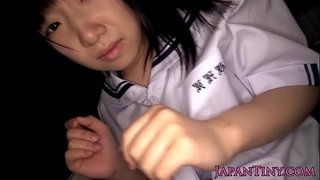Tiny-uniformed-asian-swallows-jizz