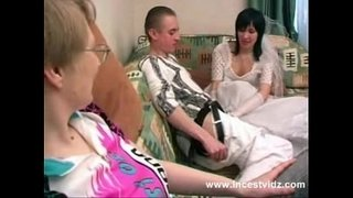 Mother,-son-and-horny-bride-in-wedding-dress-in-action