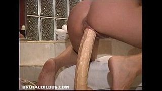 French-Canadian-amateur-rides-brutal-dildo-like-a-horse