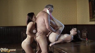 Grandpa-fucks-two-young-girls-in-their-sexy-holes-and-watch-them-licking-cum