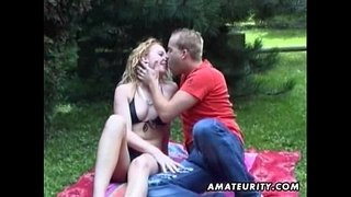 Blonde-amateur-girlfriend-outdoor-action-with-cum-in-mouth