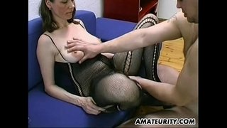 Busty-and-hairy-amateur-Milf-blowjob,-titjob-with-cum-on-tits