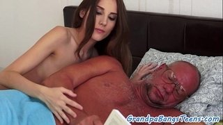 Young-babe-squirting-on-grandpas-cock