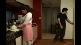 Japanese-Mother-an-Son-in-Kitchen-Fun