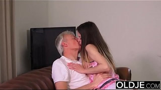 Old-and-Young-Porn---Babysitter-pussy-fucked-by-old-man-and-swallows-cum