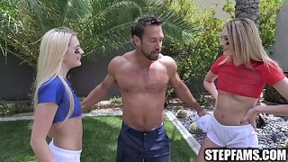 StepFams---Twin-Stepdaughters-Take-Football-Lessons-from-Stepdad-and-Then-Fuck-Him-in-the-Shower